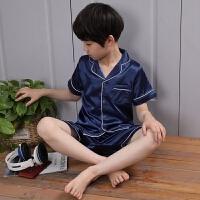 儿童睡衣男童短袖夏天冰丝中大童男孩夏季薄款真丝家居服宝宝套装