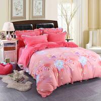 冬季天加厚法兰绒四件套珊瑚绒双面床单韩版法莱绒被套床上床裙式 粉蓝色 鸟语花香