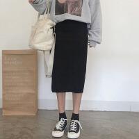 冬装新款韩版女装学生修身显瘦裙子开叉纯色半身裙高腰A字裙