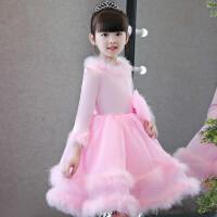 新款儿童礼服粉色公主裙加厚钢琴演出服花童婚纱模特走秀晚礼服冬 粉红色