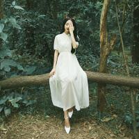 仙女裙子女夏季2018学生班服长裙森系长款文艺雪纺连衣裙甜美 白色 短袖85