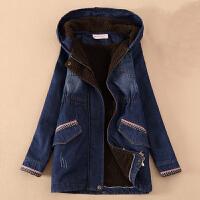 女童牛仔外套加绒加厚中长款中大童风衣秋冬装12-15岁儿童上衣�� 蓝色 130cm(130码 建议身高120-130c
