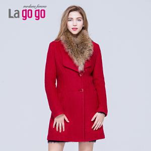 Lagogo/拉谷谷冬季纯色修身中长款长袖大衣