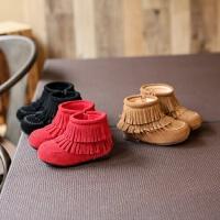 童鞋女童宝宝反绒牛皮加绒流苏靴子雪地靴短靴冬新款