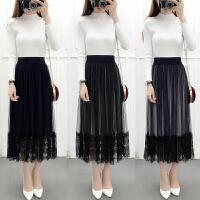 春夏季新款韩版丝绒拼接蕾丝半身裙压褶网纱裙中长裙子