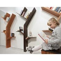 树形书架实木置物架背景墙办公室墙上壁挂装饰架儿童书报