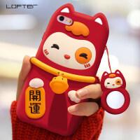 猫苹果6plus手机壳iphone6splus女款猪年红色保护套软硅胶套新年iphone6防摔
