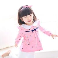 女童打底衫春秋长袖小童3岁1外穿2018新款儿童秋装女宝宝T恤 粉红色