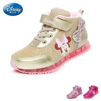 迪士尼disney童鞋17冬季新款儿童运动鞋女童休闲鞋天鹅绒保暖高帮鞋户外鞋 (5-10岁可选) DS2595