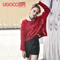 UGOCCAM女装夏装2026新款潮时尚拼接衬衫领无袖宽松显瘦雪纺