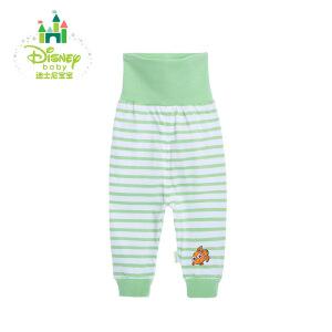 迪士尼Disney儿童裤子条纹高腰护肚裤婴儿衣服纯棉两用档裤子161K711