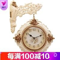 欧式双面挂钟创意时尚大号客厅玫瑰时钟现代静音田园简约石英钟表