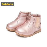 巴拉巴拉儿童靴子女童冬季鞋2018新款保暖加绒短靴冬季鞋潮宝宝鞋