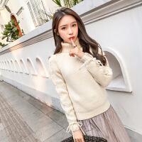 高领毛衣女套头加厚韩版宽松冬季保暖短款袖绑带粗毛线打底衫 均码