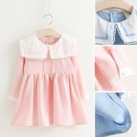 女童长袖连衣裙秋装新款韩版可爱蕾丝方领蝴蝶结小女孩公主裙