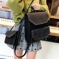 2018新款英伦复古双肩包女pu皮包百搭韩版学院中学生书包多用背包 黑色 带小包