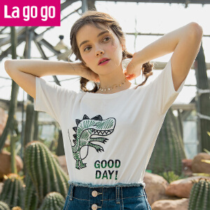 【清仓3折价77.7】Lagogo2019年春季新款刺绣小清新纯棉上衣白色套头短袖圆领T恤女