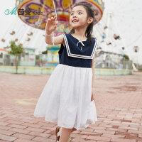 【199元3件】茵曼童装女童裙子新款中大童拼接女宝宝洋气背心连衣裙【3882103027】