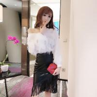 毛毛流苏套装裙秋冬新款修身性感v领上衣+高腰包臀皮裙两件套