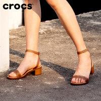 Crocs女凉鞋 卡骆驰伊莎贝拉束带粗跟女时尚休闲单鞋|204002