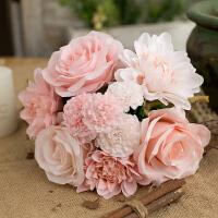仿真玫瑰花束 欧式高客厅卧室办公桌装饰摆件假花绢花插花