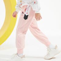 迪士尼女童运动裤2021春装新款洋气儿童宝宝时尚卡通休闲长裤