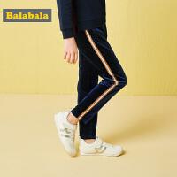 巴拉巴拉女童裤子秋装2018年新款儿童长裤打底裤女中大童撞色丝绒