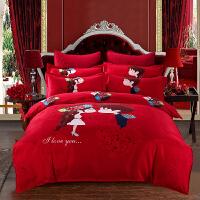 婚�c大�t色床�嗡募�套�Y婚用新婚被子喜被床上用品六件套