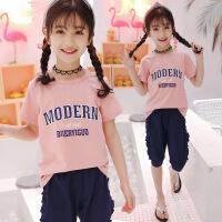 女童套装夏 小女孩夏季衣服韩版休闲短袖两件套儿童套装