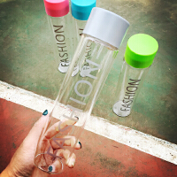 韩国韩版简约长款字母透明带盖玻璃杯日本水杯随行杯学生情侣