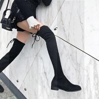 靴子女2018新款冬季加绒长筒靴女过膝靴平底百搭显瘦粗跟弹力长靴SN9277