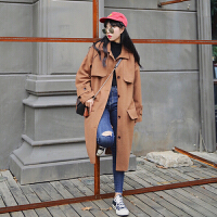 气质百搭翻领单排扣长袖呢子大衣冬装新款韩版中长款毛呢外套女装