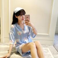 日系睡衣女春夏季纯棉睡裙性感日式和服甜美可爱汗蒸服韩版家居服