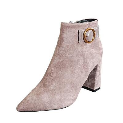 马丁靴子粗跟2018新款秋冬季紫色皮带扣百搭短靴高跟尖头女士鞋子