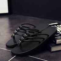 夏季韩版潮流男拖鞋男士春季沙滩凉拖个性凉鞋室外防滑人字拖