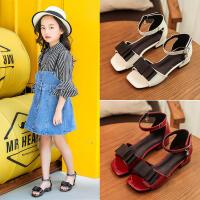 女童高跟凉鞋2018新款韩版夏季儿童公主鞋蝴蝶结舞蹈鞋大童罗马鞋