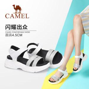骆驼女鞋 2018新款女凉鞋 魔术贴凉鞋女厚底中跟舒适凉鞋坡跟凉鞋
