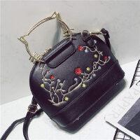 包包女包韩版贝壳包单肩包斜挎包女小包手提包潮 黑色小花