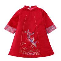 儿童唐装冬长袍马褂男女宝宝刺绣丝绒中国风童装拜年服 红色 女宝刺绣凤凰长袍