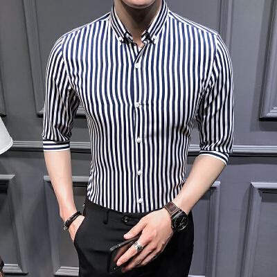 夏季男士条纹衬衫七分袖韩版商务休闲衬衣潮备货足 2022CS73