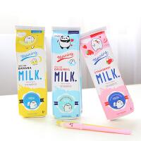 卡通可爱韩国创意大容量中小学生文具女简约铅笔盒简约牛奶盒笔袋