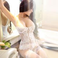 情趣内衣女性感蕾丝钢托马甲胸托聚拢吊袜带套装白色 +网袜 均码