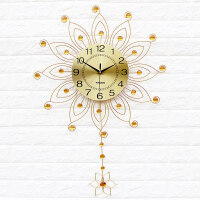 一红现代时尚石英钟表装饰挂钟欧式卧室时钟静音现代石英钟 金色 送彩色蝴蝶墙贴