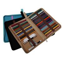 折叠式帆布笔袋素描彩色铅笔笔帘学生美术工具随身便携分类整理笔盒对折拉链插笔收纳包