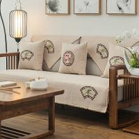 木制沙发垫布艺四季新中式三人红木123实木防滑沙发套巾罩坐垫