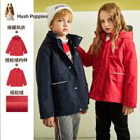 【2件5折价:324.5元】暇步士童装儿童风衣冬装新款男童厚外套女童可拆卸两件套上衣