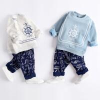男宝宝冬装套装韩版潮加绒衣服幼儿婴儿童装男童秋装
