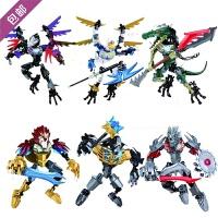 兼容乐高积木气功传奇系列狮凤凰王神兽合体兽拼装机器人玩具