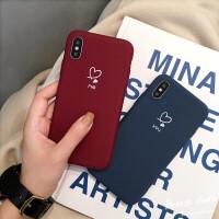 简约爱心情侣款iPhone xs max手机壳苹果x/8plus/7/6s软壳硅胶女 苹果x/xs 酒红色