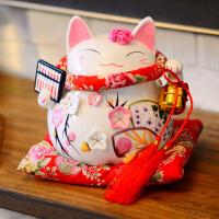 奇居良品 家居饰品陶瓷摆件现代简约开业搬迁情人节结婚礼品物 招财猫